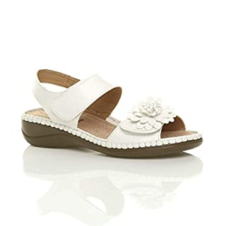 Ajvani Womens Ladies Low Wedge Heel Hook & Loop Strap Flower Comfort Sandals Size 5 38