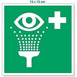 Pegatinas Gramm Configuración 15x 15cm, caracteres lavaojos/ojo de descarga/Not ducha, salvavidas caracteres, primeros auxilios Cartel