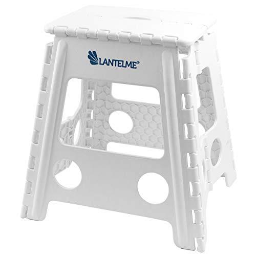 Lantelme Tabouret pliant pouvant supporter jusqu'à 120kg, en plastique, convient pour la maison ou pour un cabinet médical, blanc