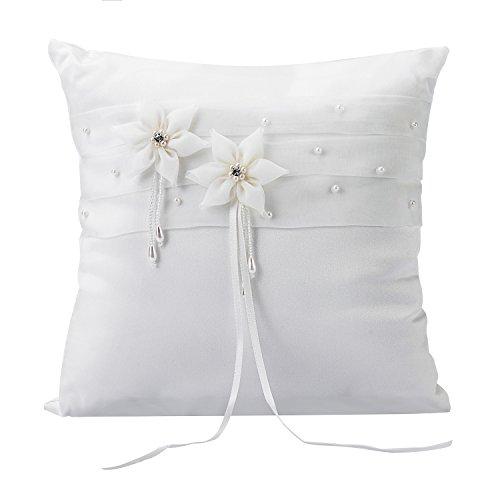 Hochzeit Ringkissen Kissen mit Faux Perle Blume Satin Elfenbein 20cm*20cm ---Ivory