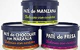 Paté de Frutas: de Fresa, de Manzana y de Chocolate con Naranja, pack de 3uds