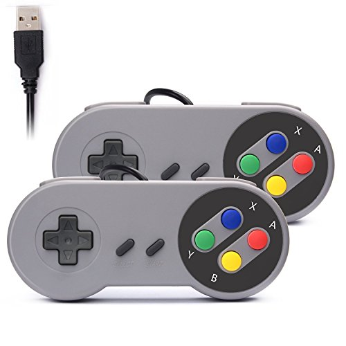 Link-e ® : 2X Nintendo Controles Mandos de Juegos USB SNES para PC/MAC (Super Nintendo, Famicom, SFC, Retro Gaming...)
