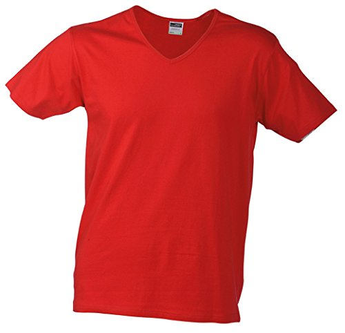 JN912 Men's Slim Fit V-T Figurbetontes V-Neck-T-Shirt Red