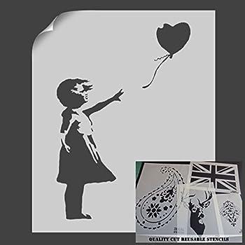 La petite fille au ballon - Pochoir - Décoration murale ...