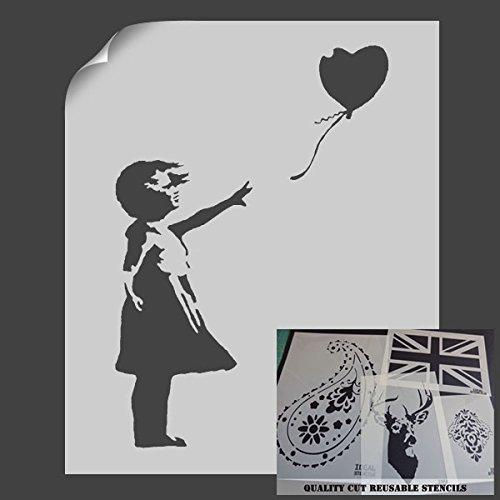 """Schablone mit dem """"Ballon-Mädchen""""-Motiv von Banksy, Schablone zur Wanddekoration, plastik, S/A4- (w)6.7 x (h)9.8 inches (Schablone Roller)"""