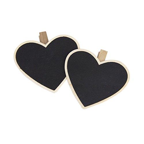 TOOGOO(R) 8Pcs Heart-Shape Blackboard Wooden Pegs Photo/Note/Paper Clips Test