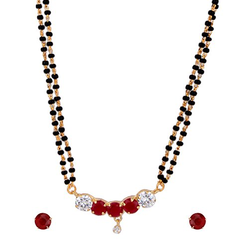 Cardinal American Diamond Fashion Jewellerry Mangalsatra Necklace Pendant Set With Earring Latest Design For Women  available at amazon for Rs.199