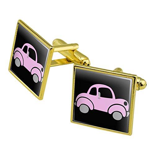 Auto-Manschettenknöpfe, quadratisch Set Gold Rosa Farbe (Automobil-shirts Für Männer)