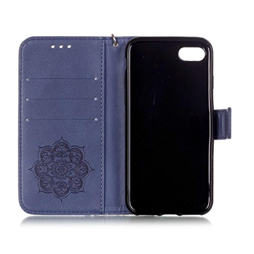 iPhone 7 Coque, Rose Cuir iPhone 7 Etui Rabat Style Prime Portefeuille Case Housse Protection Avec Carte Slots pour Apple iPhone 7 4.7 inch Avec Windbell Embossage Motif violet