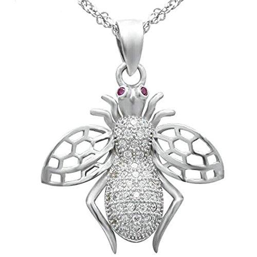 Epinki 925 Sterling Silber Damen Halskette, Wespe Biene Form Anhänger Elegant Silberkette Damenkette Weiß 2.1x1.9 CM mit (Kostüm Dog Delphin)