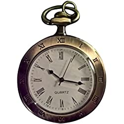 Open Face Bronze Pocket Watch with Chain White Dial Roman Numerals Timepiece