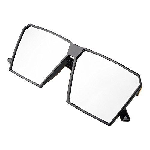 BLDEN Großer Rahmen Sonnenbrille Spiegel Reflektierend Oversized Vintage Retro Brille Unisex Für Herren Frauen GL1011-GREY