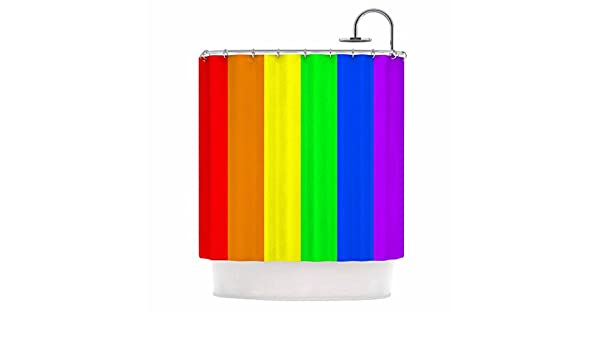 Kess InHouse Bruce Stanfield Rainbow Stripes Digital 69 x 70 Shower Curtain