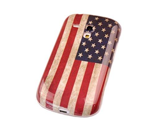 gada - Handyhülle für Samsung Galaxy S3 mini i8190 i8195 - Hochwertiges TPU Case Schutzhülle im stylischen Design - USA Amerika Flagge retro (S3 Mini-usa)