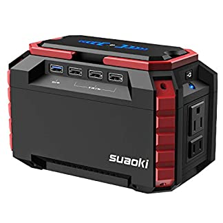 SUAOKI – 150Wh Generador Portátil Solar, Estación Almacenamiento Suministro de Energía Potencia (Carga QC3.0 con una AC 220V Salida, 4 Puertos USB, linternas LED Emergencia para Camping, Senderismo)