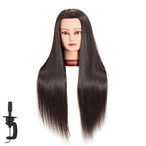 新品 Cabeza de maniquí de pelo sintético de fibra sintética para entrenamiento de peluquería, modelo de entrenamiento con abrazadera (Black)