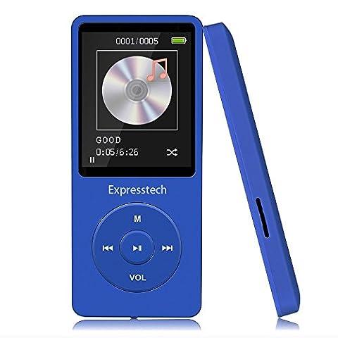 Expresstech @ Bleu 8Go Lecteur de Musique MP3 Player mp3 Baladeur avec un écran de 4,6 cm - soutien la carte mémoire de 64Go