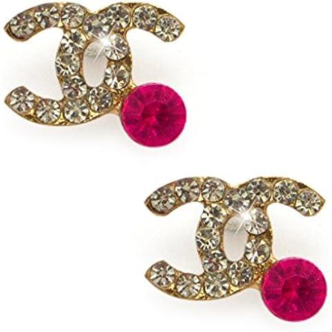 Manina Diamante di cristallo Chanel spilla di design Pin con rosa di cristallo in un ambiente d'oro aggiunge un tocco di stile alla vostra attrezzatura, il sacchetto di HAND o accessori Confezione da 2