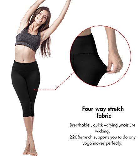 LAPASA Donna Capri Leggings 3/4 Allenamento Opaco Yoga Fitness Spandex Palestra Pantaloni L02 (S/40(Vita 64-74 cm), Nero)