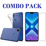 ADRY Tempered Glass & Transparent Back Cover_Combo Pack_ Premium Quality Screen Guard And Soft Case Cover For Huawei Honor 8X