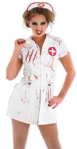 Fancy Me Damen Sexy leuchtend Zombie Toter Krankenschwester Halloween Kostüm Kleid Outfit 8-22 Übergröße - Weiß/Rot, Mehrfarbig, - Sexy Übergröße Krankenschwester Kostüm