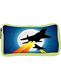 Snoogg Eco Friendly Canvas Moon And Jet Fighters Student Pen Pencil Case Coin Purse Pouch Cosmetic Makeup Bag