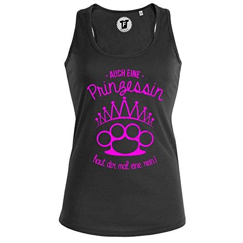 FABTEE - Auch eine Prinzessin Haut dir mal eine rein - Racerback Tank Top Shirt Damen - Größen XS-XL, Größe:M, Farbe:Schwarz