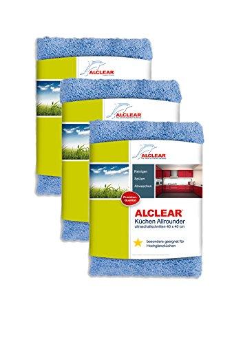 3er Set ALCLEAR Küchen Allrounder 820203K_3, reinigt Hochglanzküchen schonend und gründlich, 40×40 cm, blau