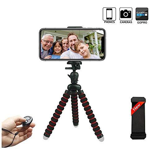 mini Flexibel Stativ , phone tripod mit Flexibel Halterung für Kamera,iPhone X, Sumsung S10 und alle Android-Smartphone mit Bluetooth Fernsteuerung Reisestativ ()