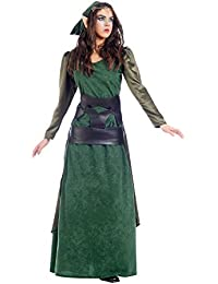 Elbenwald Green Forest Elf Costume Ladies 2 Piece Dress and Sash For Mardi Gras Fancy Dress