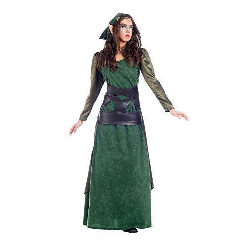Costume pour dame elfe des bois vert 2 pièces robe et écharpe Carnaval - M