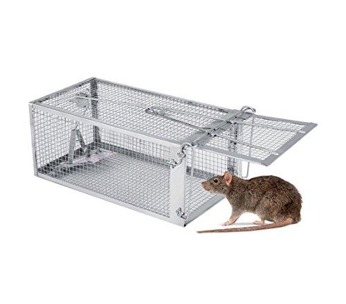10750 Jaula trampa metálica para ratones con cierre de resorte 27x15x12 cm