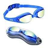Aegend Blue Swim Goggles, Swimming Goggles No Leaking Anti Fog UV Protection Triathlon