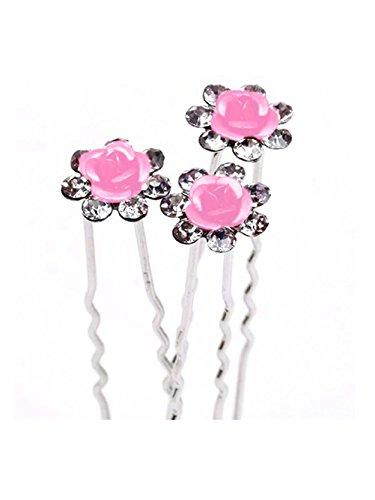 Jelinda 10 Stücke Braut Hochzeit Abschlussball Silber Kristall Diamante Rose Blume Haarnadeln Klammer Griff (Pink)