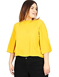 1ced119fe64b1c Lovedrobe GB Women's Plus Size Mustard Yellow 3/4 Sleeve Blouse with Cut-Out