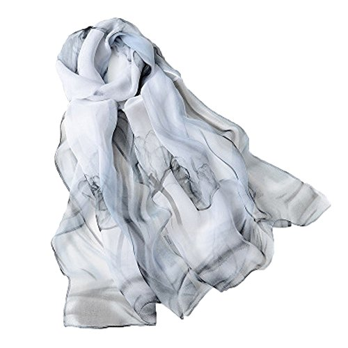 Emulación pañuelos de seda Mujer Mantón Bufanda Moda Chals Señoras Elegante Estolas Fular 63'' x 19.7'' Blanco y negro