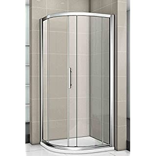 Aica 900x900mm New Quadrant Walk in Shower Enclosure +Stone Tray, Metal Chrome Frames/Clear Glass/White, 90x90x185 cm