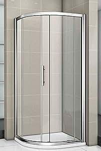 AICA New Quadrant Walk in Shower Enclosure Tray, Metal, Chrome Frames/Clear Glass/White, 900 x 900 mm