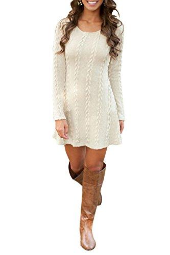 YMING Damen Pullover Kleid A-Line Strickkleider Langarm Winter Kleid Beige