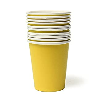 Aliciashouse 10 Pcs Colourful Paper Cups Party Home Disposable Drinking Cup -yellow