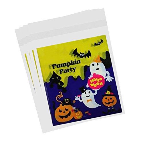 F Fityle 100 pcs Geschenktüten - Kunststoff Tüten für Ihre Geburtstagsfeier, Babyparty, Hochzeit - Kürbis-Party