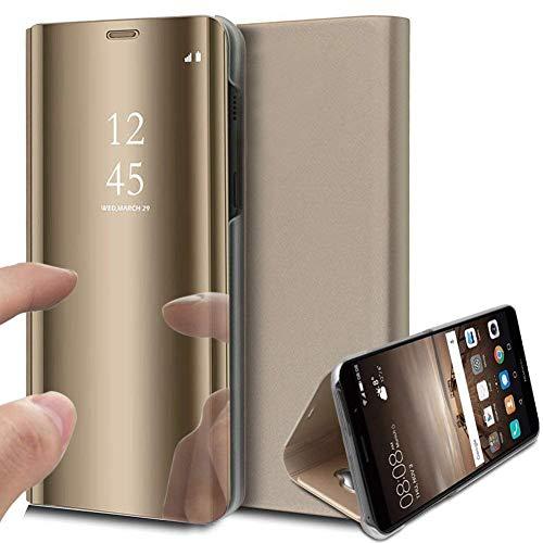 Caler Hülle Kompatibel Xiaomi Redmi Note 5A/5A Prime Hülle Spiegel Cover Clear View Crystal Case Schutzhülle Mirror handyhülle handyhuelle etui huelle Flip metallic Frau schal mit Tasche Ledertasche