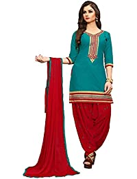 Diwali Special Offer C&H Blue Cotton Embroidery Semi Stitched Patiala Suits