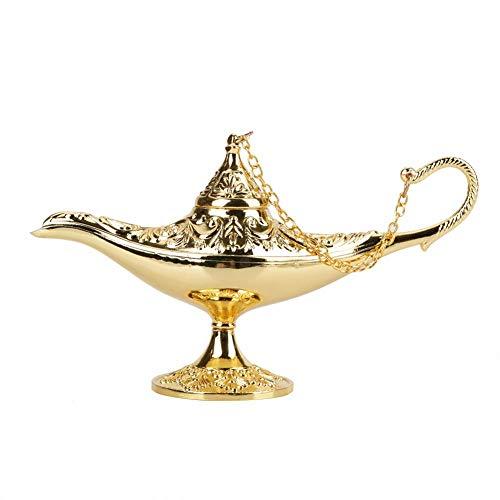 Genie Licht Lampe, Aladdin Licht Magie Genie Licht Metall seltene Retro-Legende Farbe Lampe Wunsch Lampe Topf Sammlerstück(Golden) (Baby Topf Von Gold Kostüm)