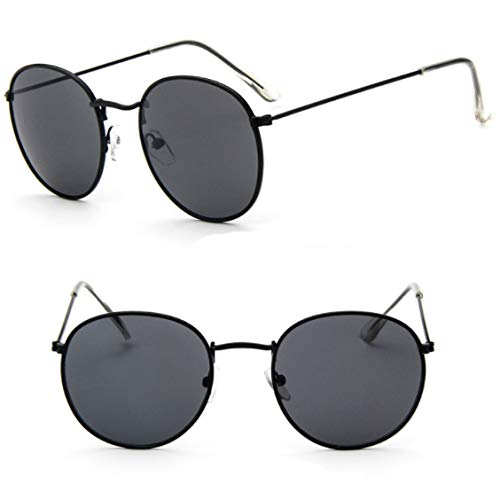 xinrongqu Sonnenbrillen - Retro Sonnenbrillen Runde Vielseitige Sonnenbrillen Mode Sonnenbrillen Schwarzen Rahmen Grau