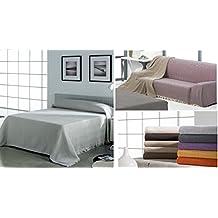 """(Gris perla 230) DELUXE """"BENAQUE """" COLCHA MULTIUSOS FOULARD PLAID LISO para cama o sofá ALTA CATEGORIA FABRICADO EN ESPAÑA (230_x_260_cm (CAMA 150 O SOFÁ 3 PLAZAS)"""