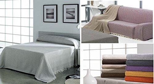 (Marrón chocolate 180) DELUXE 'BENAQUE' COLCHA MULTIUSOS FOULARD PLAID LISO para cama o sofá ALTA CATEGORIA FABRICADO EN ESPAÑA (180_x_260_cm ( CAMA 90 O SOFÁ 2 PLAZAS)