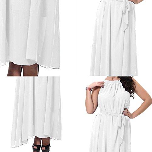 Feoya - Femme Robe Bohémien d'été Sans Manches Robe de party plage Réversible en Col Rond Robe Longue Maxi Pour Femme Fille avec une ceinture - Taille M/6XL - 4 couleurs Blanc