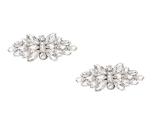 Ynuth 2pz clips per scarpe fiocco strass cristalli asportabile clip del pattino elegante decorazione shoes clips argento