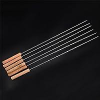 Holzsammlung 6 Pezzi Barbecue forchetta spiedini 100% acciaio inox + termoresistente manico in legno + (Acciaio Inossidabile Lama Manico In Legno)